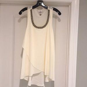 Beautiful mixed media tunic length cream top